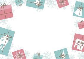 desenho de banner de natal de caixa de presente e fundo de floco de neve com ilustração vetorial de espaço de cópia