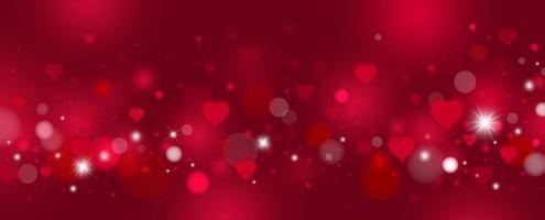 dia dos namorados e desenho de fundo de amor de corações vermelhos e ilustração vetorial de bokeh