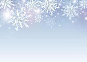 desenho de fundo de natal e inverno de floco de neve branco com ilustração vetorial de cópia espaço