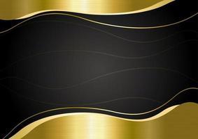 banner de metal dourado em ilustração vetorial de fundo preto