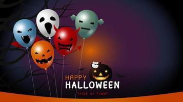 feliz halloween desenho de banner de ilustração vetorial de balão