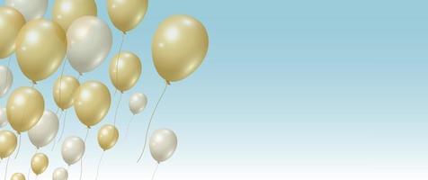 fundo de balões de ouro e prata com ilustração vetorial de espaço de cópia
