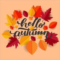 Olá outono com fundo de folhas planas para cartão de convite e propósito de impressão vetor