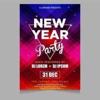 convite de cartaz de festa de ano novo com temas brilhantes