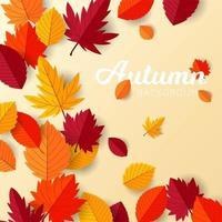 fundo de outono com design de folhas planas vetor