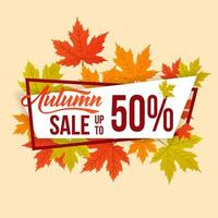 venda de outono com design de conceito de moldura simples e plana vetor