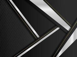 prata abstrata com ouro e fundo preto moderno vetor design editável
