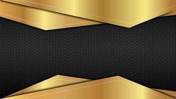 ouro abstrato com fundo moderno de aço preto vetor design editável