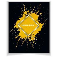 banner abstrato com fundo de respingo de tinta amarela vetor