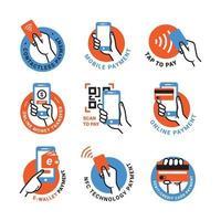 etiqueta de sinal de pagamento sem contato vetor