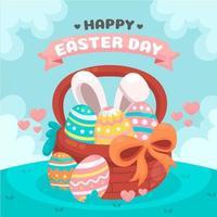 feliz dia de páscoa com balde de ovo de pintura vetor