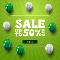 desconto moderno minimalista banner web verde com balões brancos e verdes