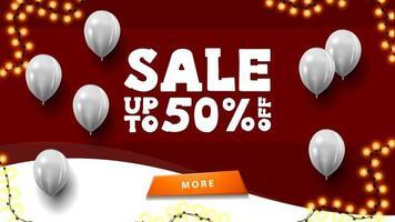 promoção, até 50 de desconto, banner vermelho com balões brancos