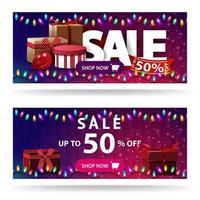 promoção, até 50 de desconto, dois banners roxos de desconto com caixas de presente e textura poligonal