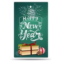 feliz ano novo, cartão vertical com livros de natal, bola de natal e cone