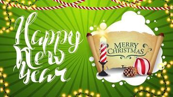 feliz ano novo, cartão verde horizontal com lindas letras, decoração de natal, vela, pergaminho velho, bola de natal e cone