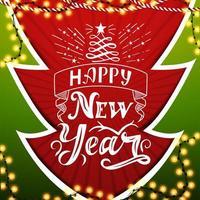 feliz ano novo, postal vermelho e verde em papel cortado estilo árvore de natal