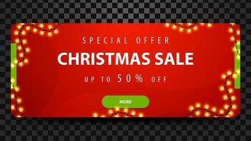 venda de natal, até 50 de desconto, banner web moderno horizontal brilhante vermelho com botão e festão.