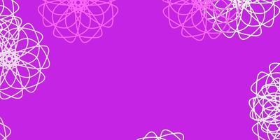 fundo do doodle do vetor roxo, rosa claro com flores.
