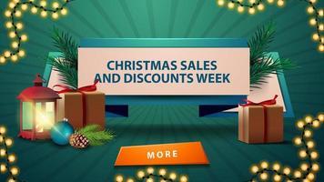 vendas de natal e semana de desconto, fita de desconto com presentes, lanterna vintage, galho de árvore de natal com um cone e uma bola de natal vetor