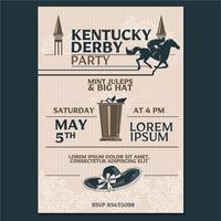 Kentucky Derby Party Invitation Estilo clássico com fundo de padrão Geometroc vetor
