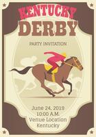 Molde retro do convite de Derby de Kentucky vetor