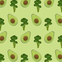 pôster do dia mundial da comida com padrão de abacate e brócolis vetor