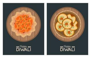 feliz celebração de Diwali com pratos e letras vetor