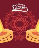 feliz celebração diwali com duas velas e mandala vetor