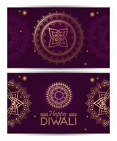 feliz celebração de Diwali com mandalas douradas e letras vetor