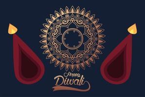 feliz celebração diwali com duas velas e mandala dourada vetor