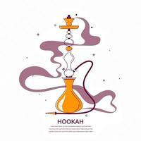 narguilé com ilustração plana estilizada de fumaça
