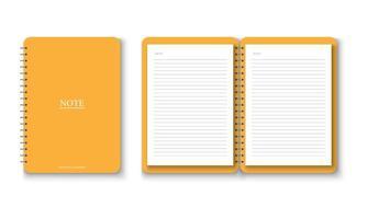 caderno amarelo realista com conjunto de papel A4 vetor