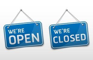 conjunto de sinalização azul aberta e fechada vetor