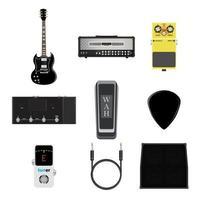 ícone de instrumentos musicais, guitarra, amplificador, conjunto de tomadas de cabo de sinal vetor