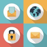 conjunto de ícones de longa sombra de comunicação vetor