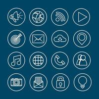 conjunto de ícones de redes sociais vetor