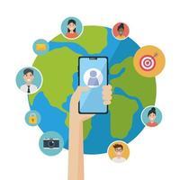 design plano de mídia de rede social com smartphone vetor