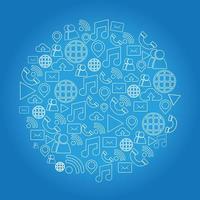 forma redonda da coleção de ícones da rede social