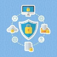 tecnologia design plano de segurança de internet vetor