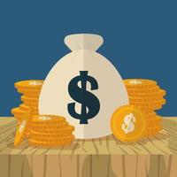 saco de dinheiro, design plano de conceito de finanças vetor