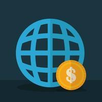 moeda de dinheiro do mundo, design plano de conceito de finanças vetor