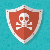 sinal de alerta, escudo de crânio para segurança na internet
