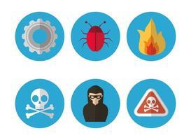 conjunto de ícones de segurança de computador e internet vetor