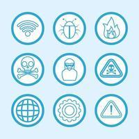 conjunto de ícones de segurança de computador e internet