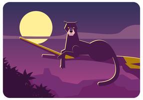 Panther preto no vetor da árvore