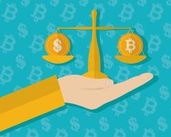 criptomoeda e dinheiro, design plano de conceito de finanças vetor