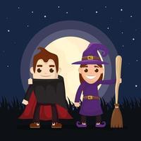 crianças em fantasias de halloween à noite vetor