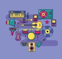 design de música fofo com ícones pop vetor