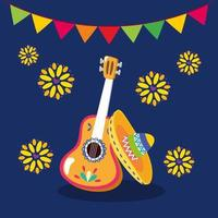 guitarra mexicana e desenho vetorial de chapéu vetor